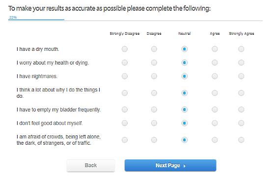 CalmClinic.com: online anxiety test