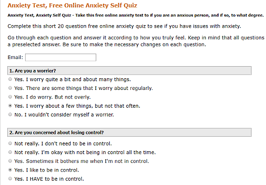 AnxietyCentre.com: online anxiety test