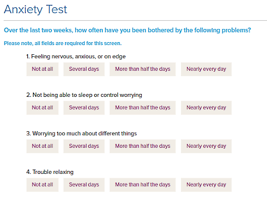 MentalHealthAmerica.net: online anxiety test