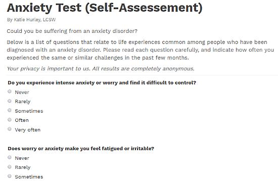 Psycom.net: online anxiety test