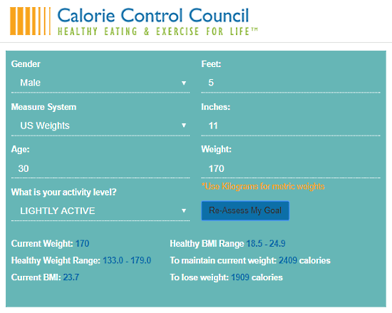 CalorieControl.org: calorie calculator for weight loss