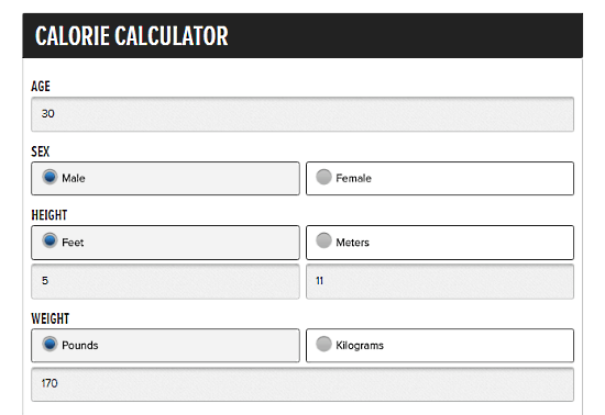 BodyBuilding.com: calorie calculator for weight loss