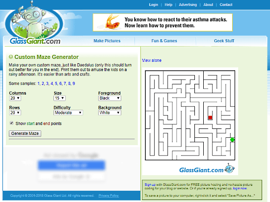 GlassGiant.com: online maze generator