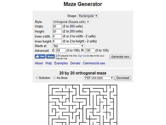 MazeGenerator.net: online maze generator