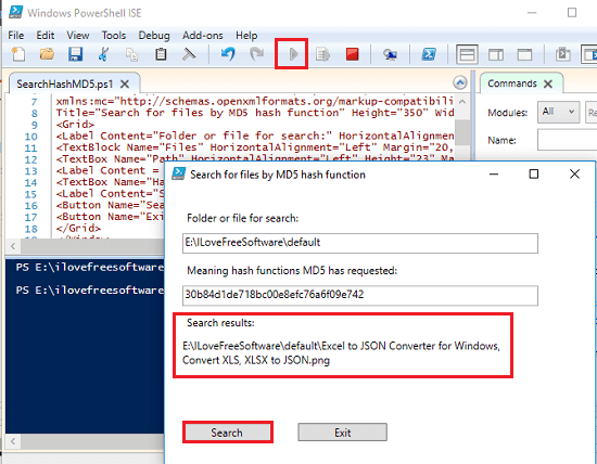 search files by md5 hash powershell