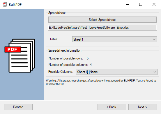 select spreadsheet BulkPDF