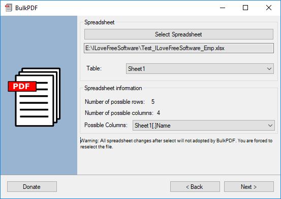 select spreadsheet BulkPDF