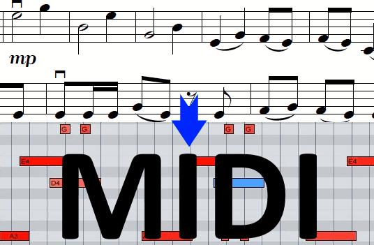 sheet music to midi