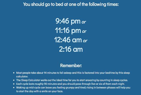 Web-blinds: sleep cycle calculator