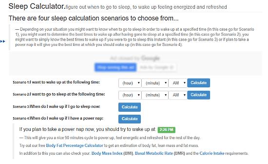 Sleep-calculator: sleep cycle calculator
