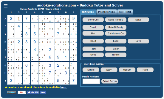 Sudoku-Solutions: step by step sudoku solver