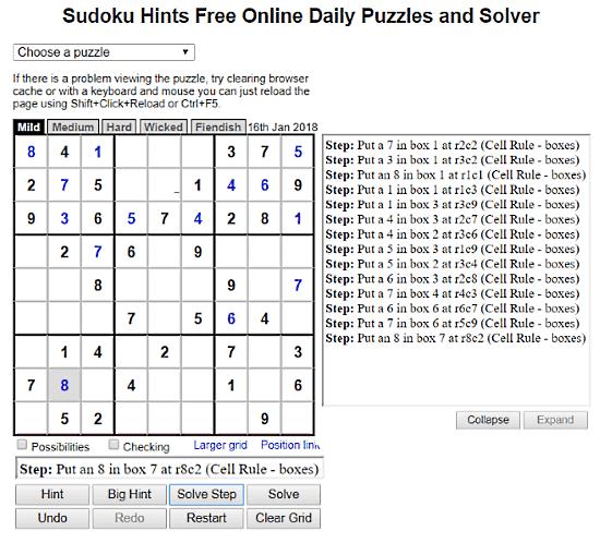 SudokuHints: step by step sudoku solver