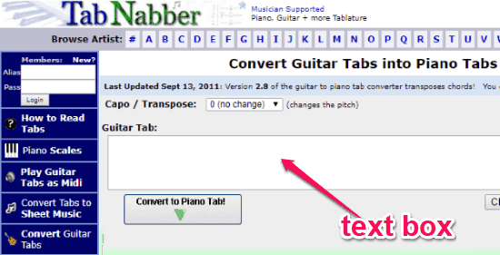 How to Convert Guitar Tabs to Piano Tabs Online Free