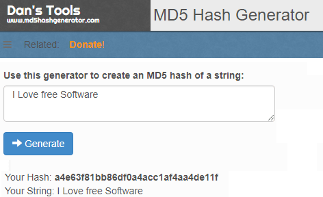 text to MD5 dans tools