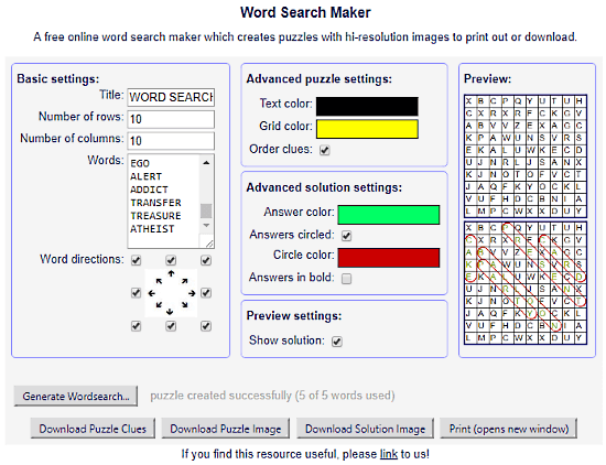 Griddler.co.uk: word search puzzle maker
