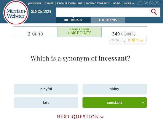 Merriam-Webmaster.com: test your vocabulary