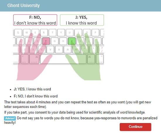 Vocabulary.Ugent.be: test English vocabulary