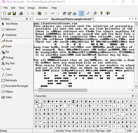 ASCII Art Studio- interface