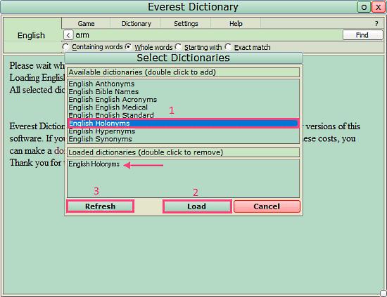 Everest Dictionary: holonym dictionary