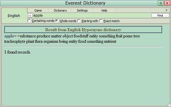 Everest Dictionary: hypernyms