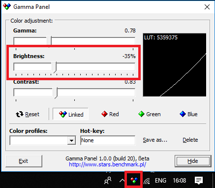 Gamma Panel free brightness control slider windows 10