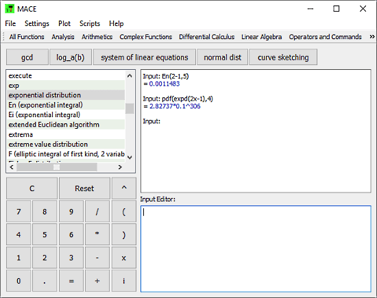 Mace: exponential equation calculator