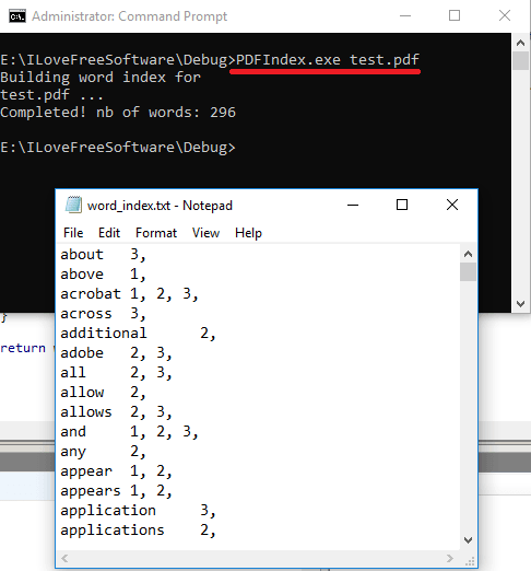PDFWordINDEX in action command line