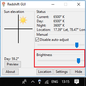 RedShift GUI free brightness control slider software