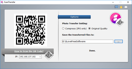 ScanTranfer interface with qr code
