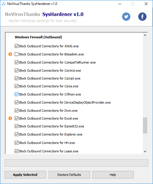 SysHardener firewall rules exclude
