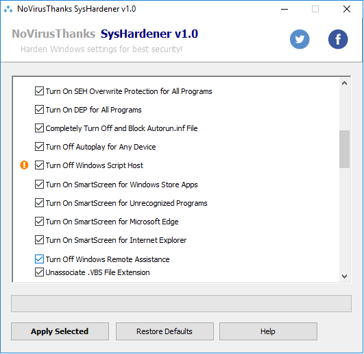 SysHardener windows settings