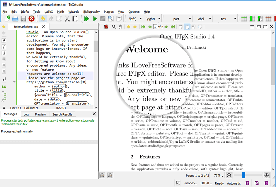 TeXStudio free latex editor software