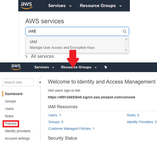aws search IAM and seelct policies