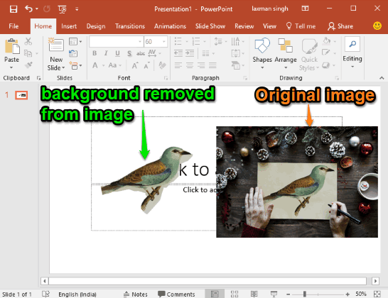 background removed from a photo in microsoft powerpoint