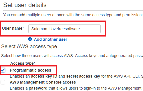create user and programatic access