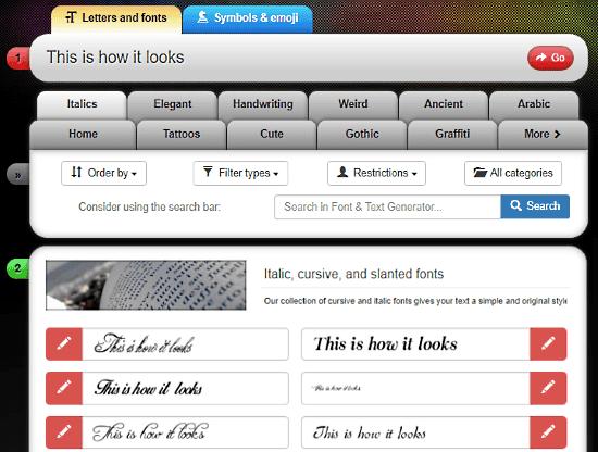 Font-Generator: cursive font generator