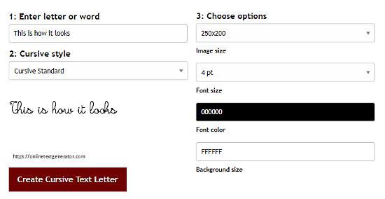 Online Text Generator: cursive font generator