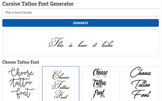 Find Tattoo Design: cursive font generator