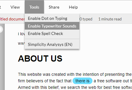enable typewriter sounds and spell check