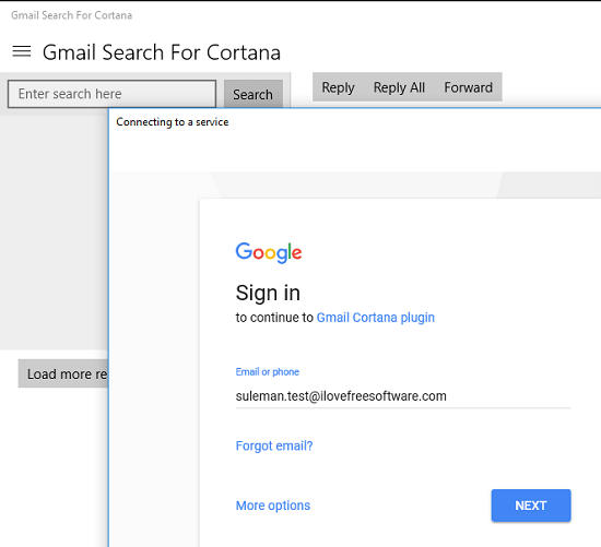 gmail search for cortana