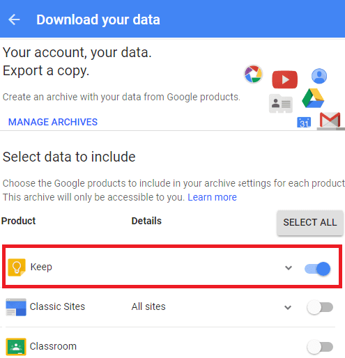 google takeout for keep