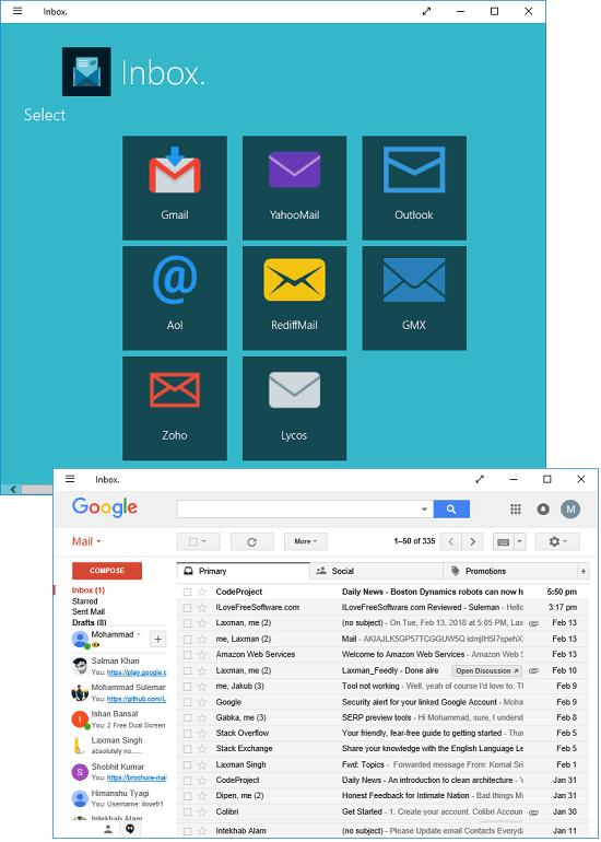 inbox free email client windows 10
