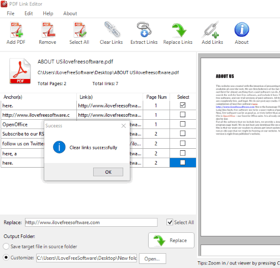 links removed from pdf