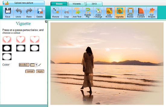 Online Image Editor: vignette effect