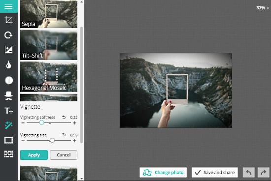 Pho.to: vignette effect online