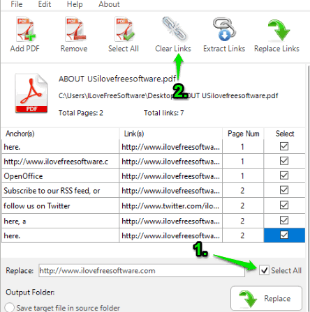 select links and use clear links option