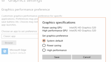 set graphics performance settings for individual applications in windows 10