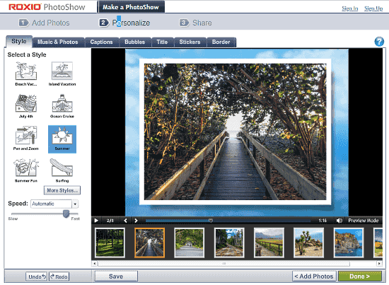 Roxio PhotoShow: slideshow maker with music and effects