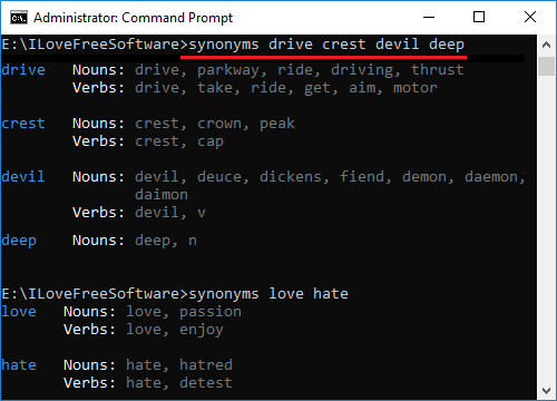 synonyms-cli in action