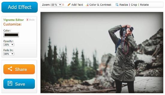Tuxpi: vignette effect online
